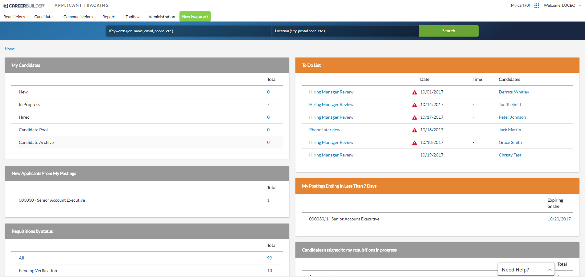CareerBuilder Applicant Tracking Demo - dashboard.PNG