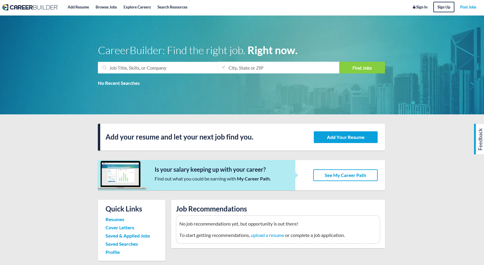 CareerBuilder Job Board Demo - CareerBuilder+Homepage.PNG