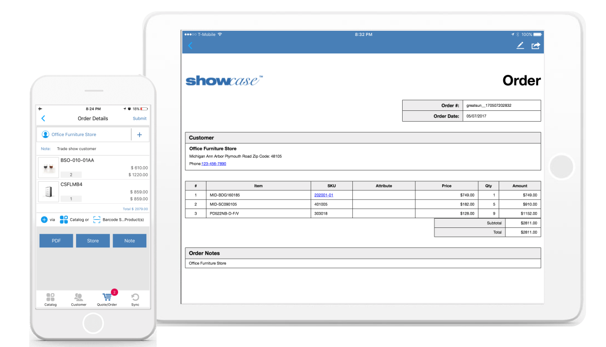 Showcase Sales App Demo - Showcase order taking