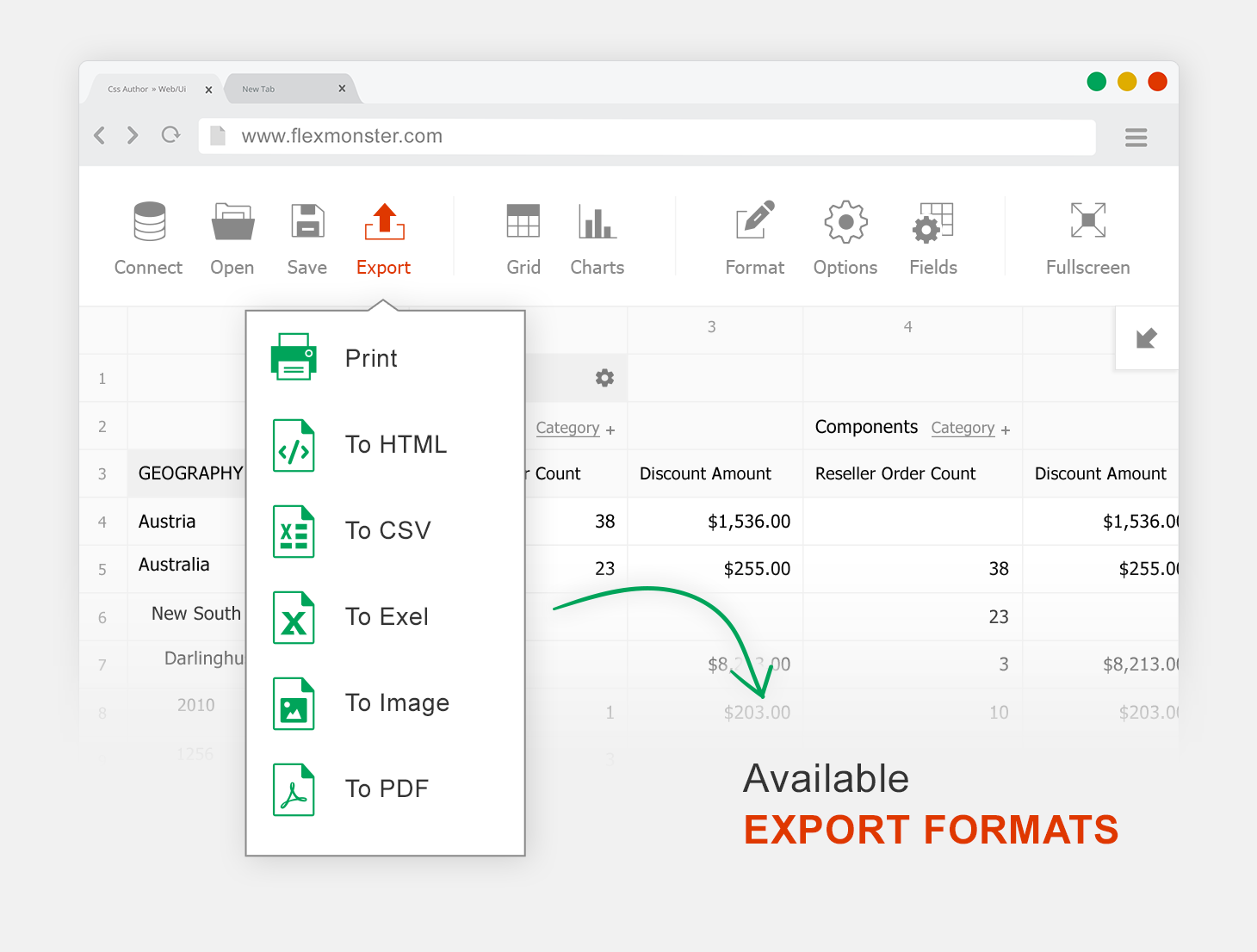 Flexmonster Pivot Table & Charts Component Demo - Export and Print.  Export to PDF, Excel, HTML, CSV and images