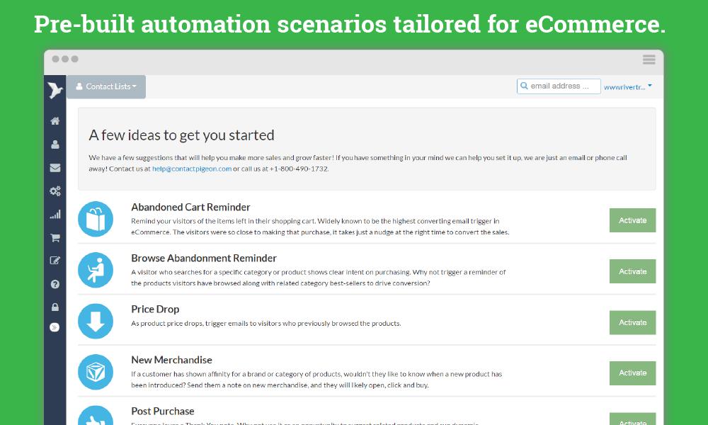 ContactPigeon Demo - Automation Scenarios