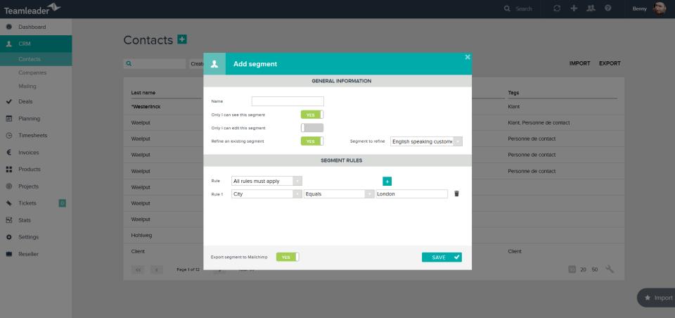 Teamleader Demo - Create lists
