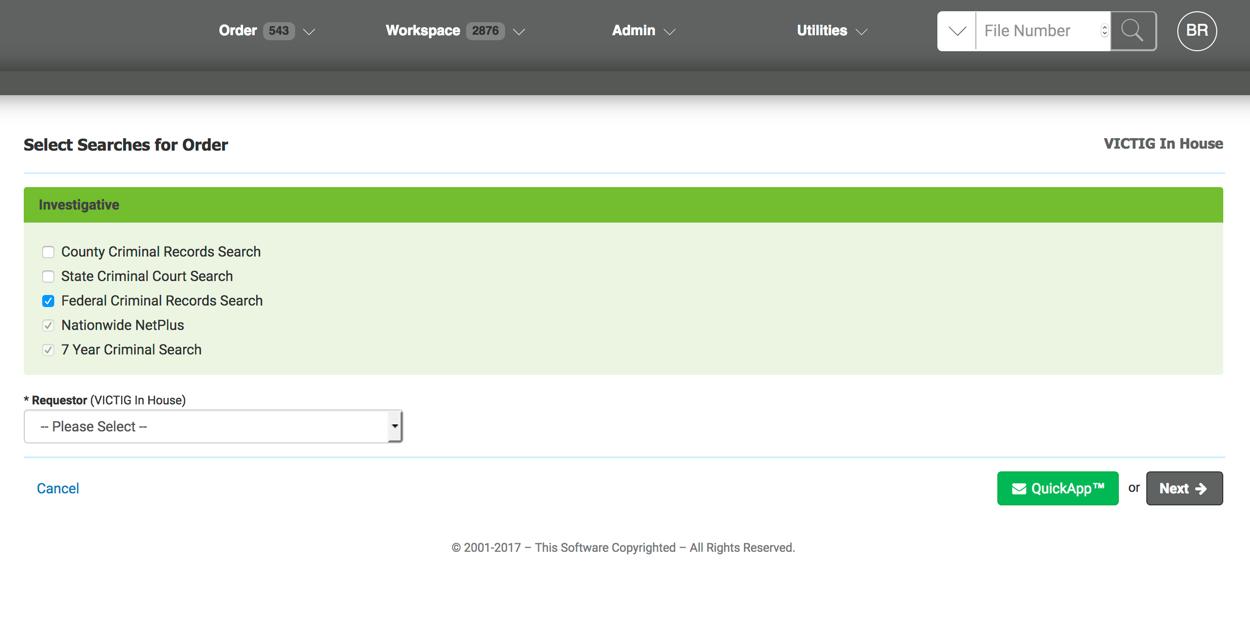 VICTIG Screening Solutions Demo - Order Screen