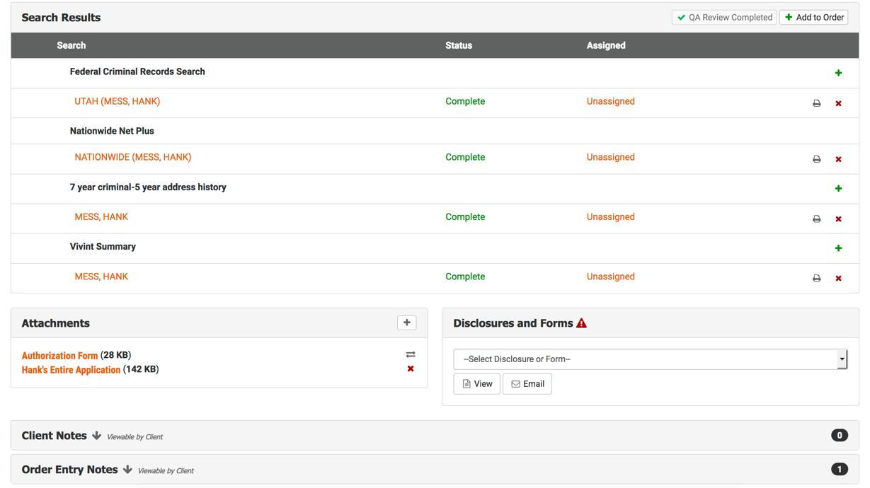 VICTIG Screening Solutions Demo - Report Results Screen