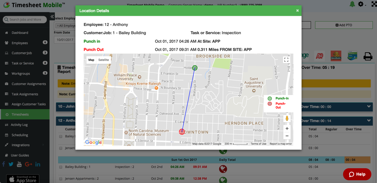 Timesheet Mobile Demo - manager alert when employee punches outside job geofence