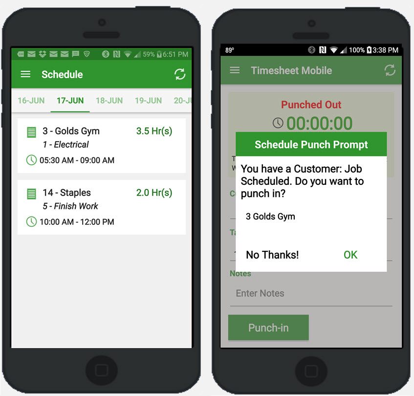 Timesheet Mobile Demo - exclusive Punch Prompt alerts