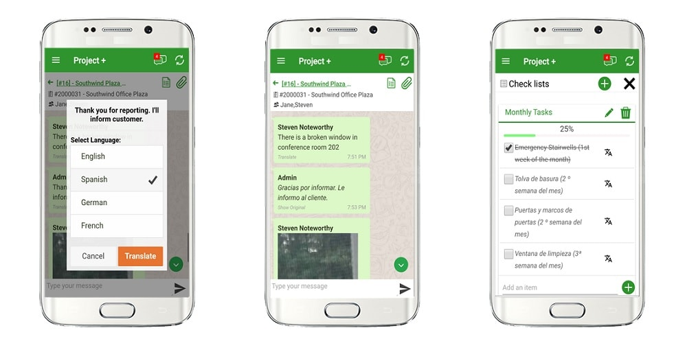 Timesheet Mobile Demo - Project+ platform for messaging, checklists and image sharing
