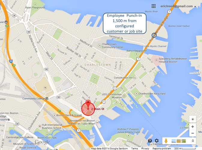 Timesheet Mobile Demo - geofence map view