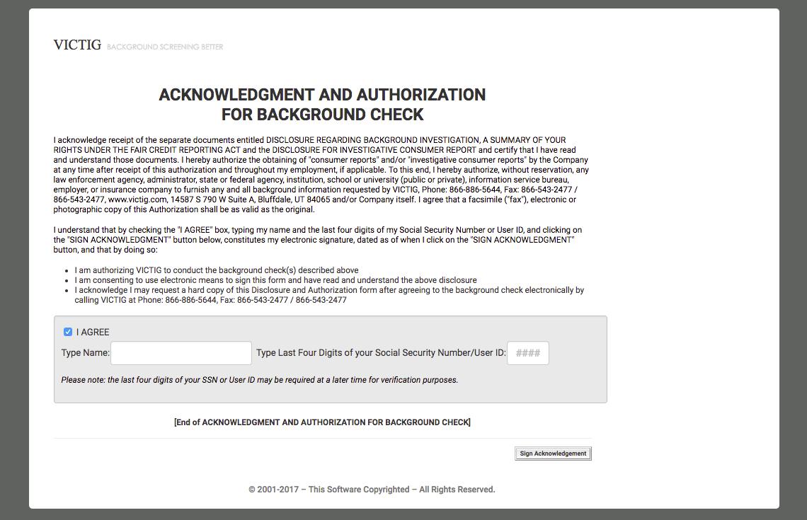 VICTIG Screening Solutions Demo - E-Signature Page