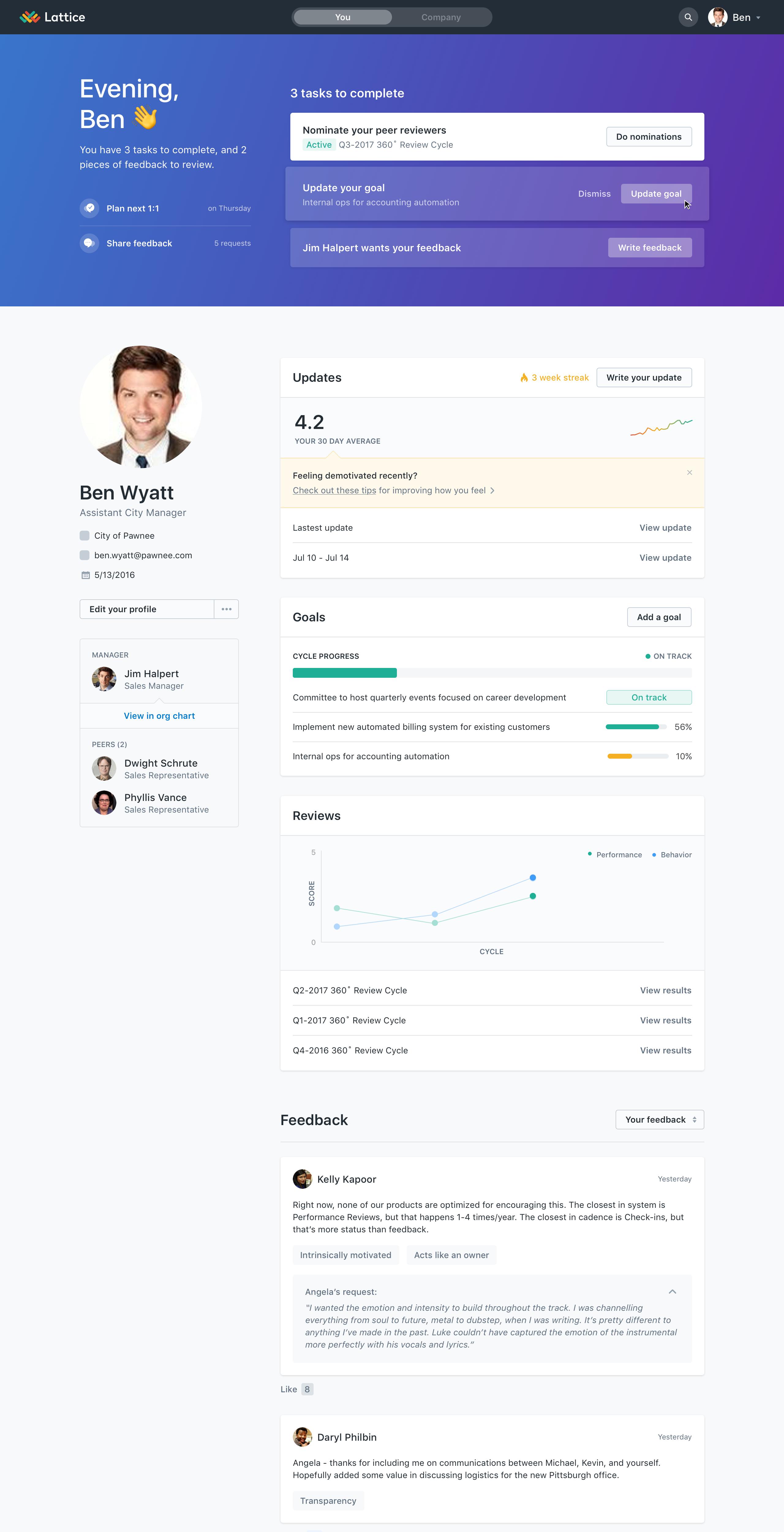 Lattice Performance Management Demo - Lattice User Profile