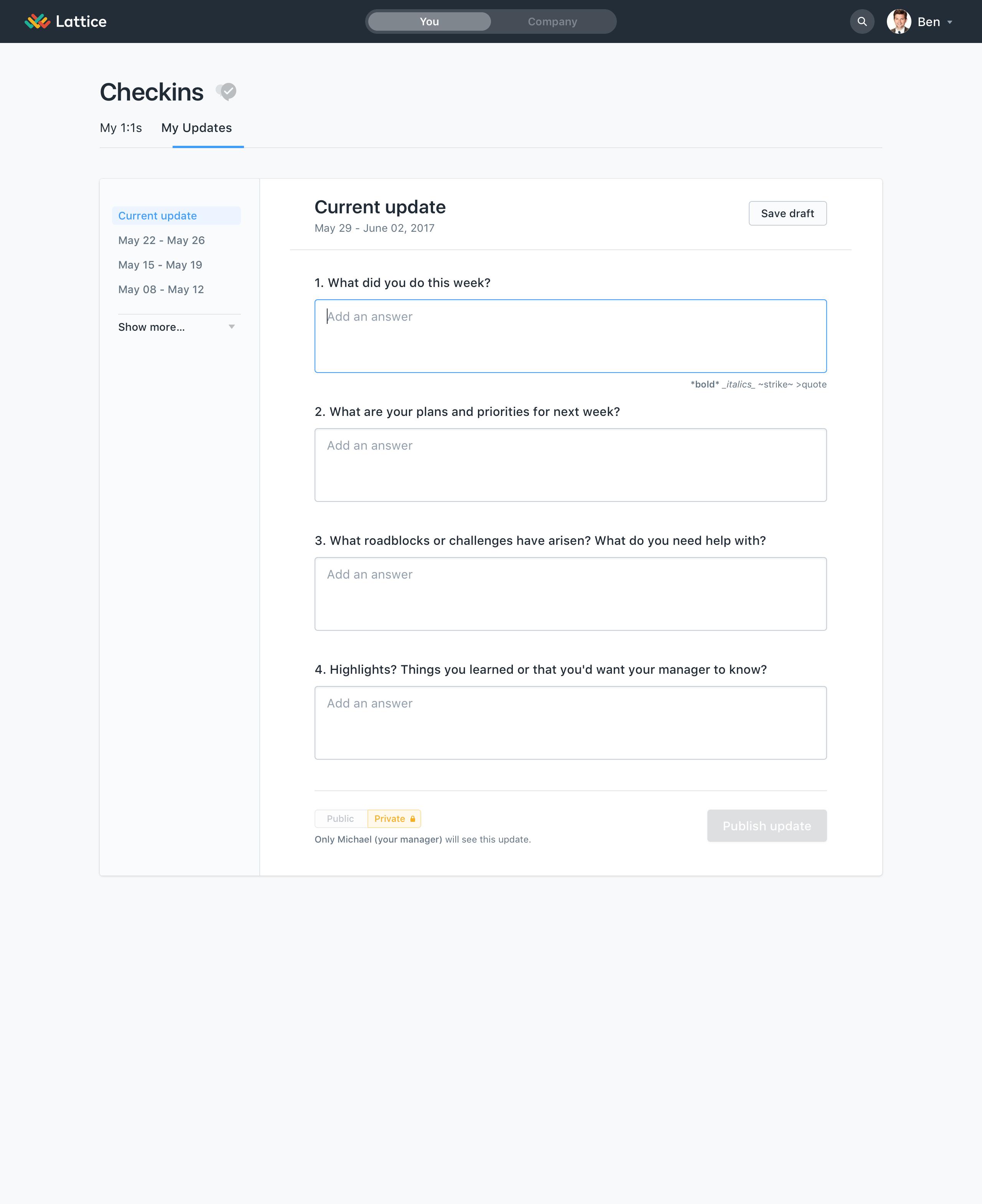 Lattice Performance Management Demo - Lattice Employee Checkin Page