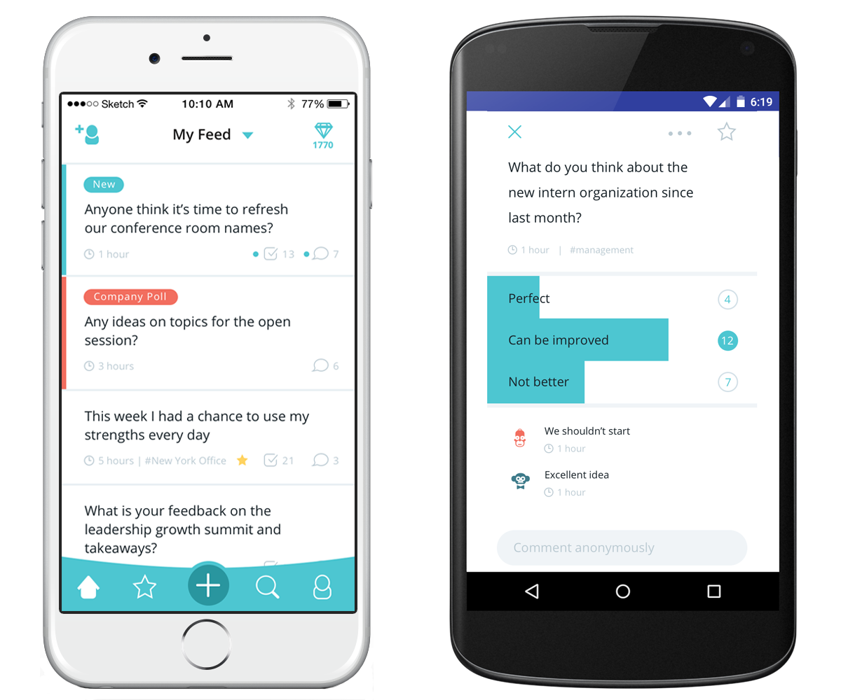 Hyphen Demo - Hyphen on iOS & Android - Surveys, Pulse Polls & Bottom-Up Anonymous Conversations