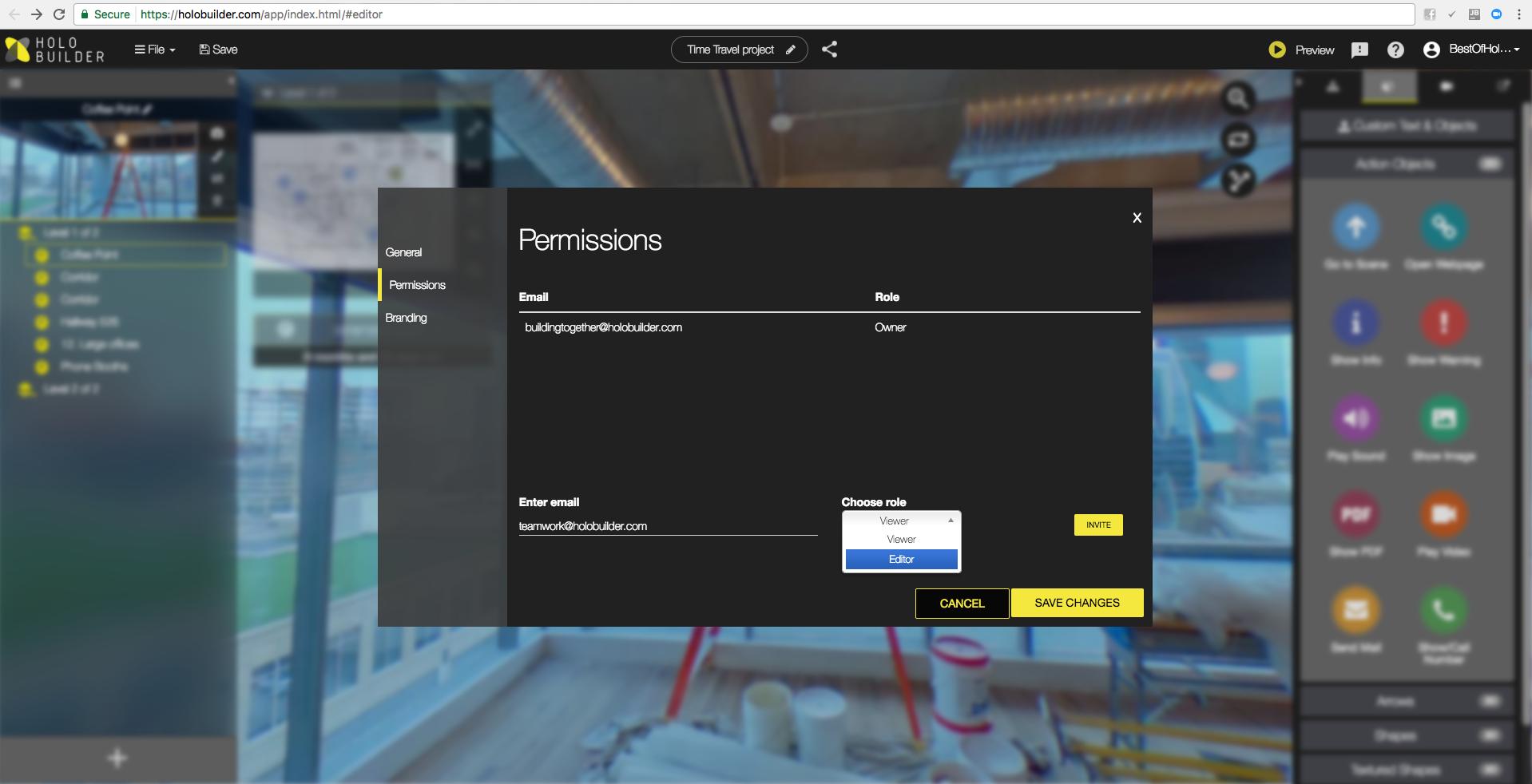 HoloBuilder Demo - HoloBuilder Web Editor User Access Management