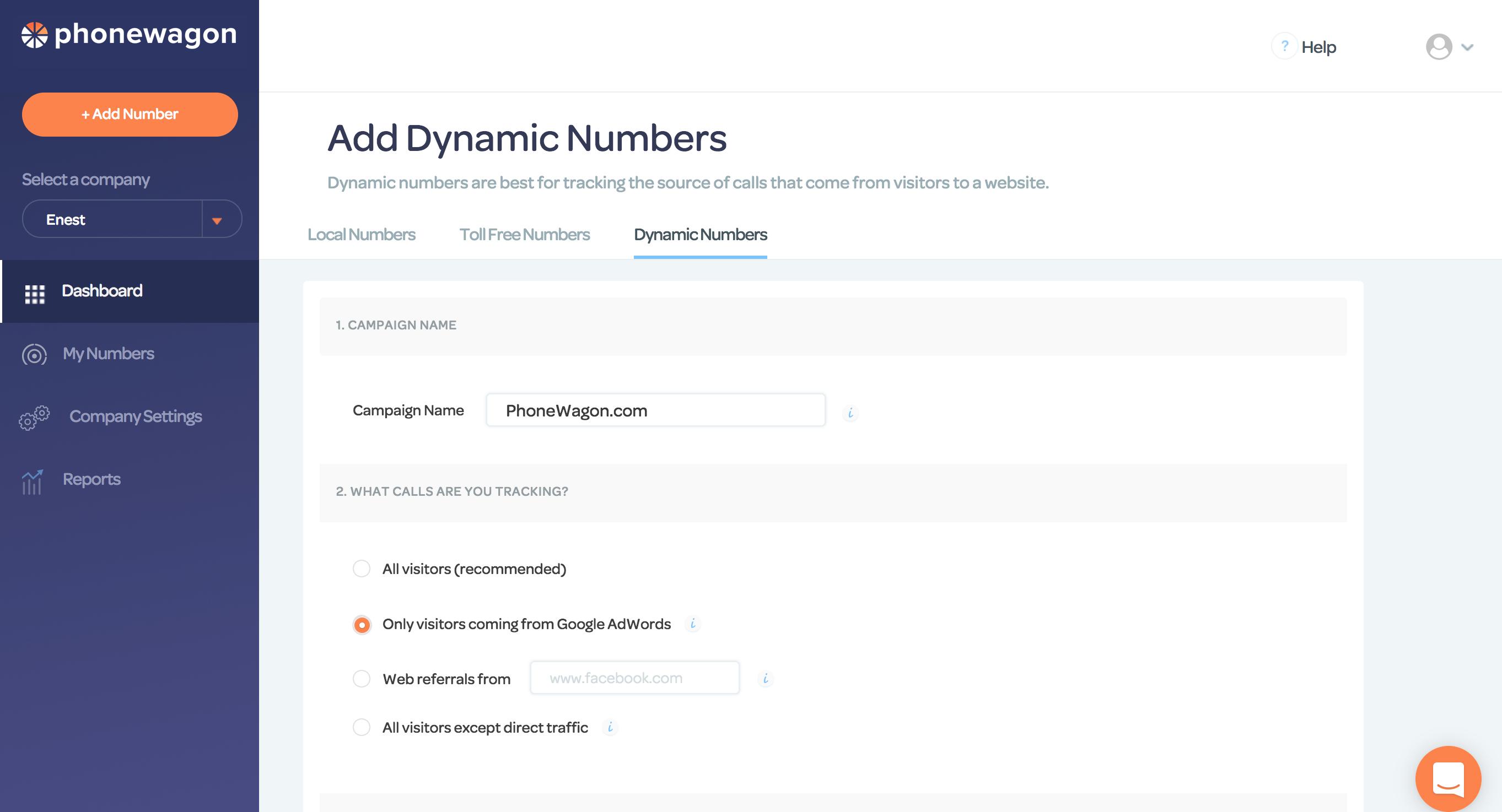 PhoneWagon Demo - Dynamic Numbers