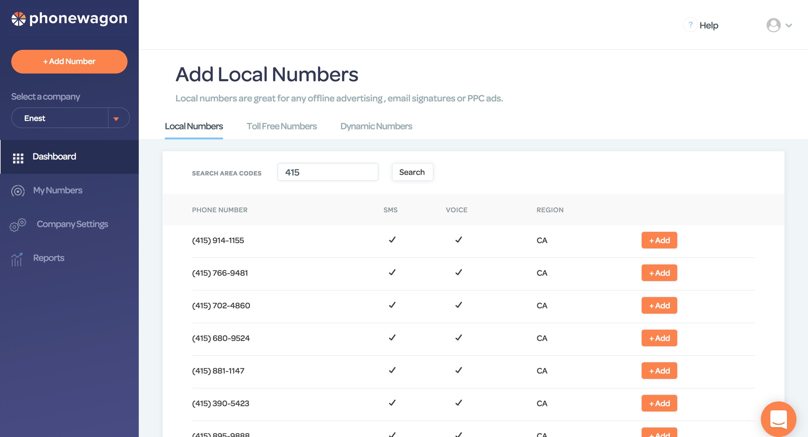 PhoneWagon Demo - Add Local Phone Numbers