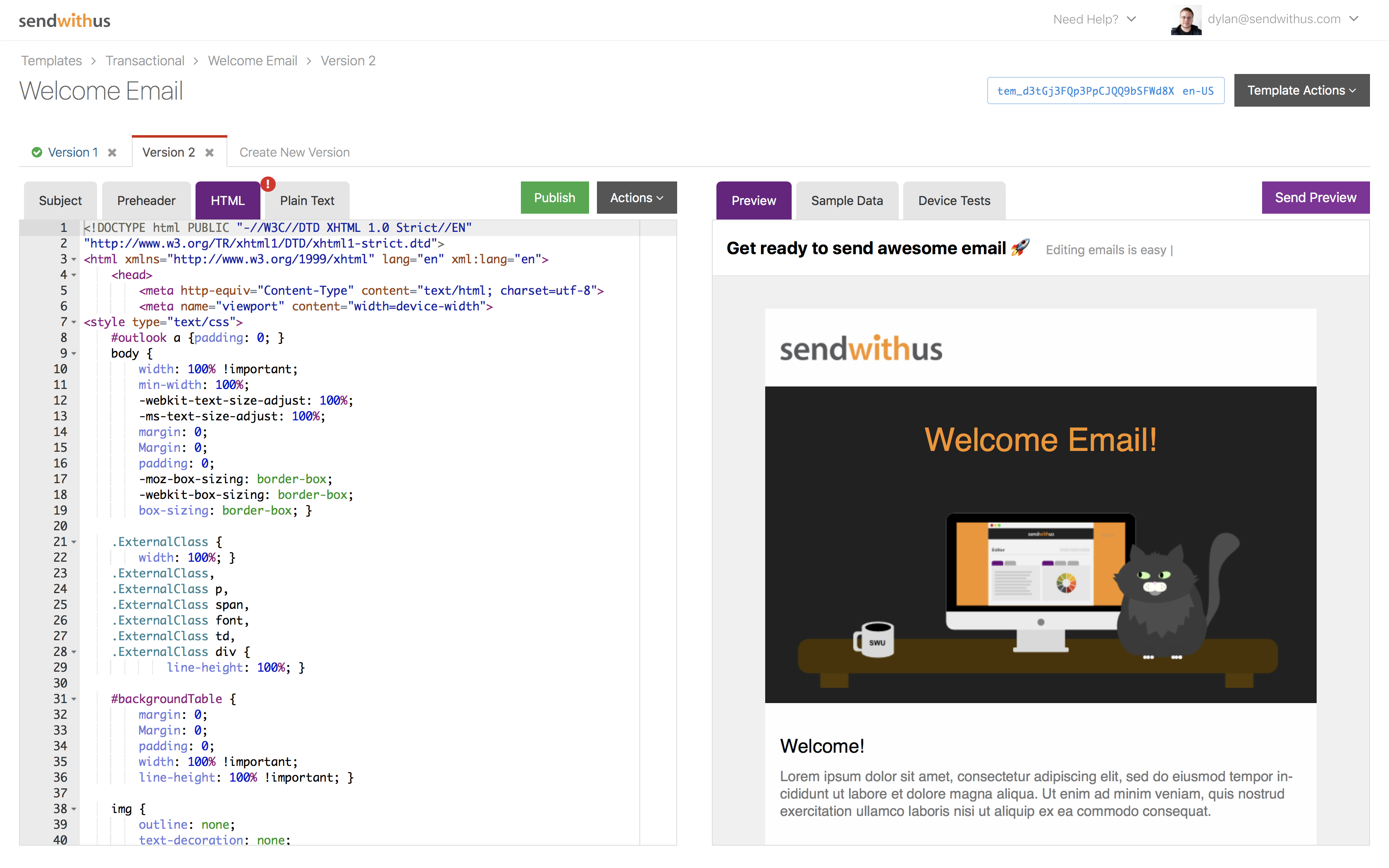 Sendwithus Demo - Visual Template Editor