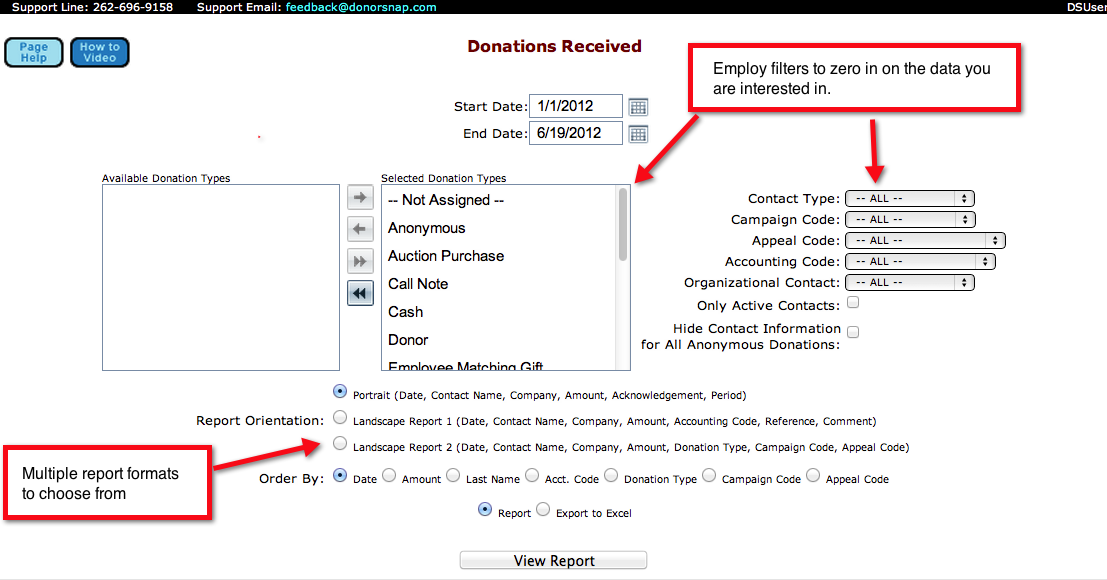 DonorSnap Demo - Reporting and Scheduled Email Reports
