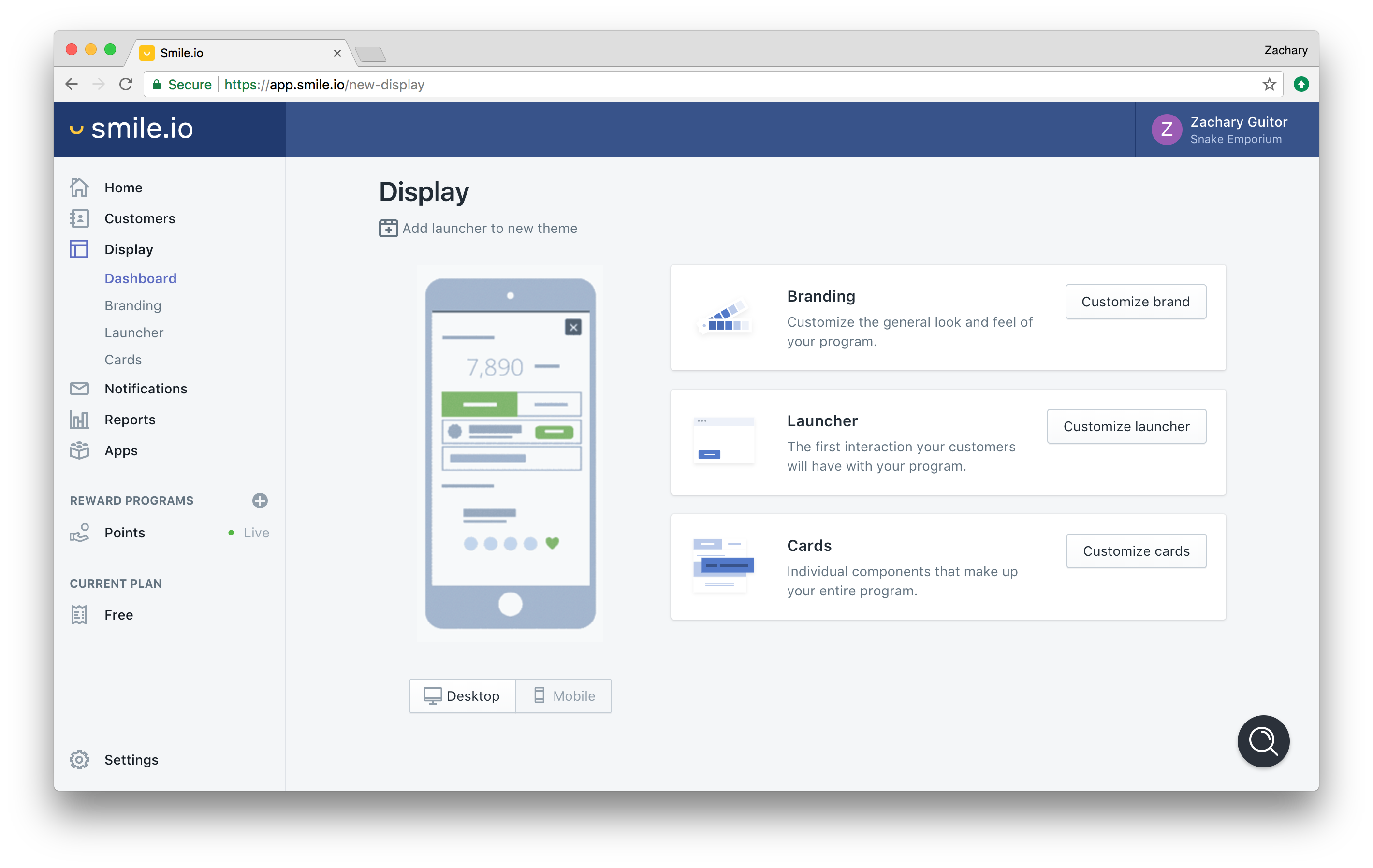 Smile.io Demo - Intuitive program design and customization