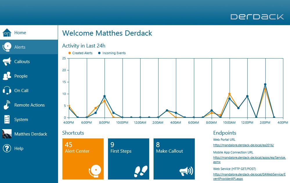 DERDACK Enterprise Alert Demo - Admin Dashboard