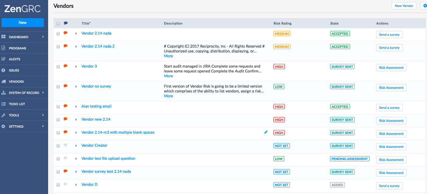 ZenGRC Demo - InfoSec Dashboard