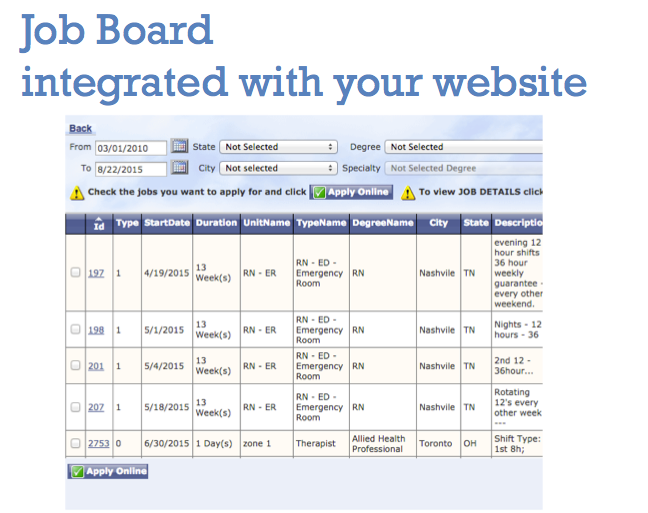 BlueSky Medical Staffing Software Demo - BlueSky Job Board Integrated With Your Website