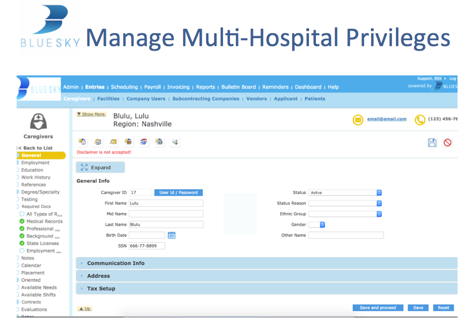BlueSky Medical Staffing Software Demo - Manage Multi-Hospital Privileges