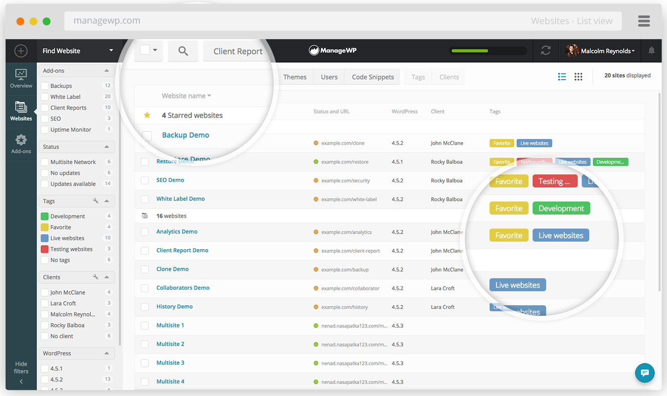 ManageWP Demo - List view