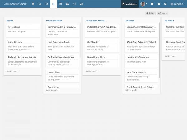 WizeHive Zengine Demo - Administrative Status Screen
