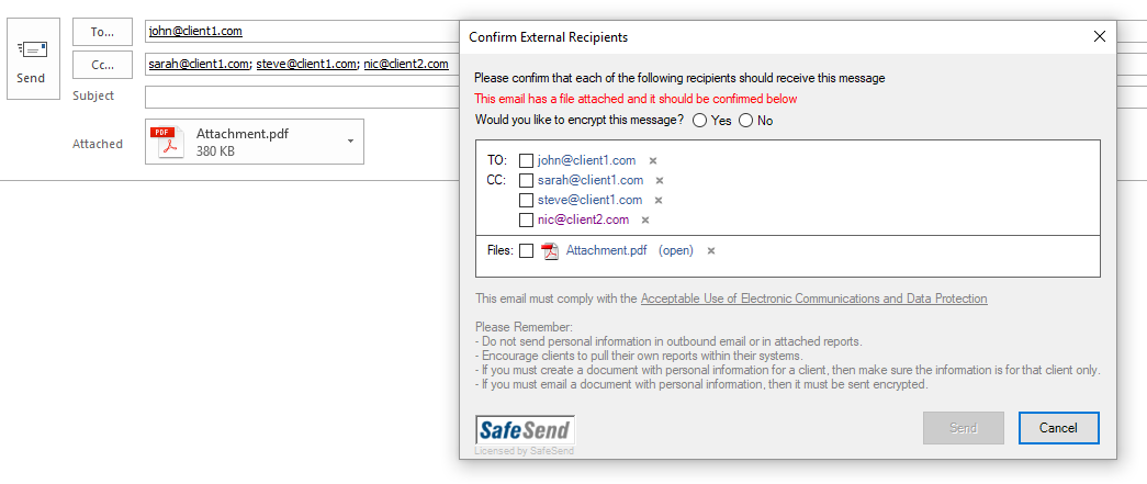 SafeSend Email Security Demo - Advanaced