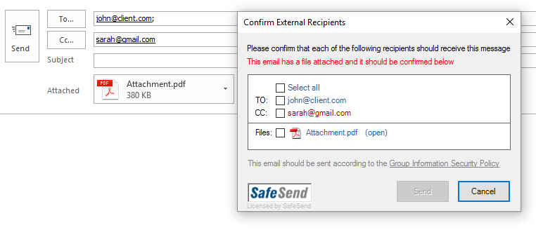 SafeSend Email Security Demo - Basic