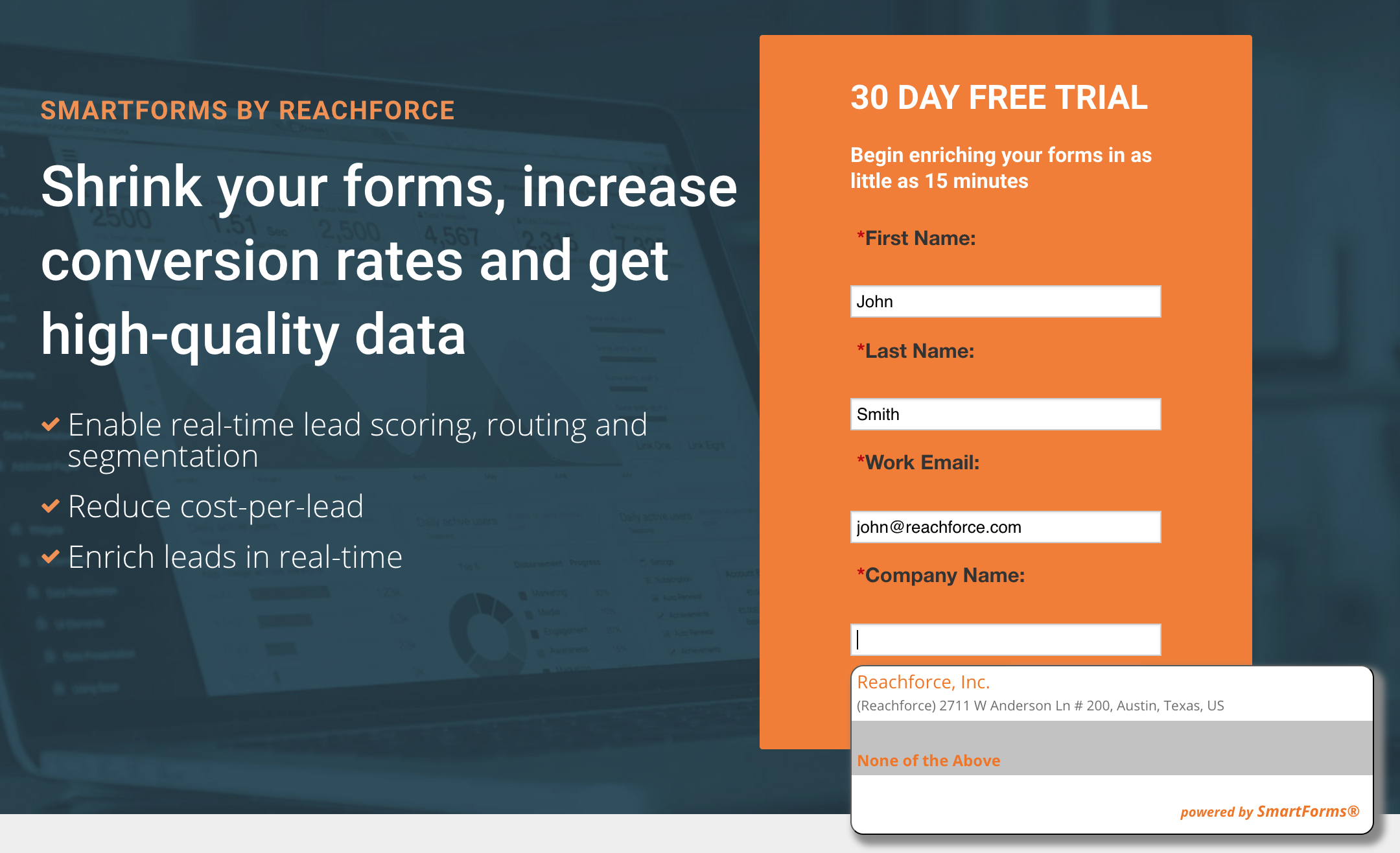 ReachForce Demo - Enrich Landing Pages with SmartForms