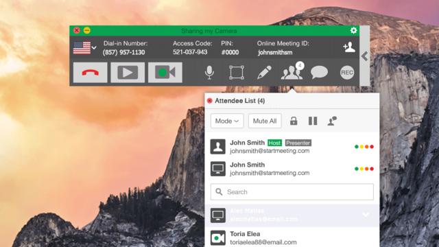 StartMeeting Demo - StartMeeting desktop app with attendee list