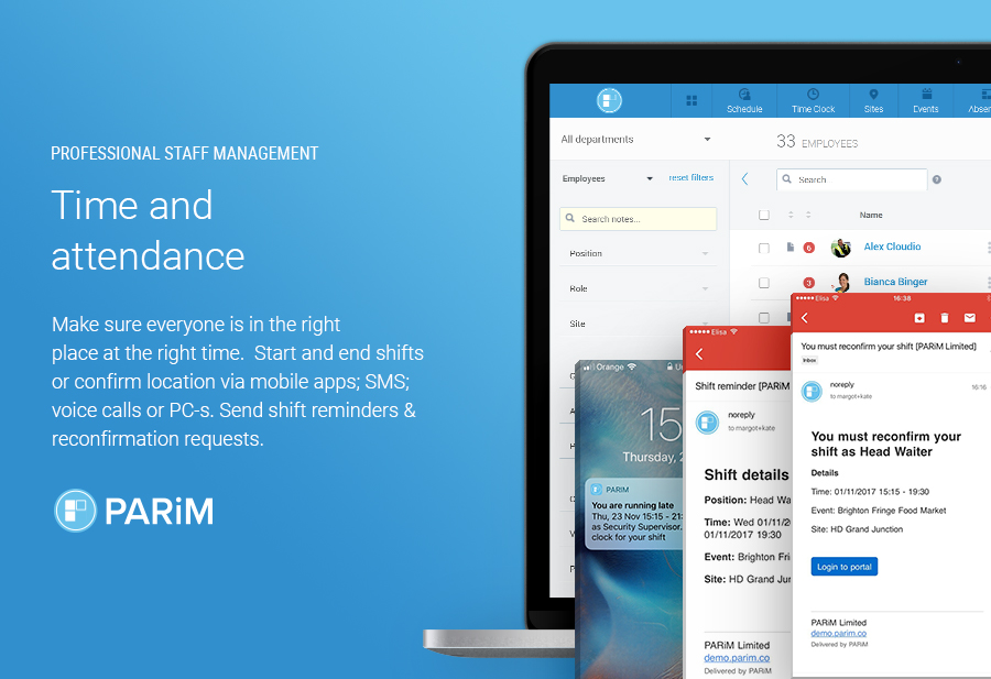 PARiM Demo - Time and Attendance Tracking for Mission Critical Jobs