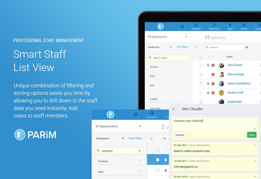 PARiM Demo - Smart Staff List View for Quick Staff Management