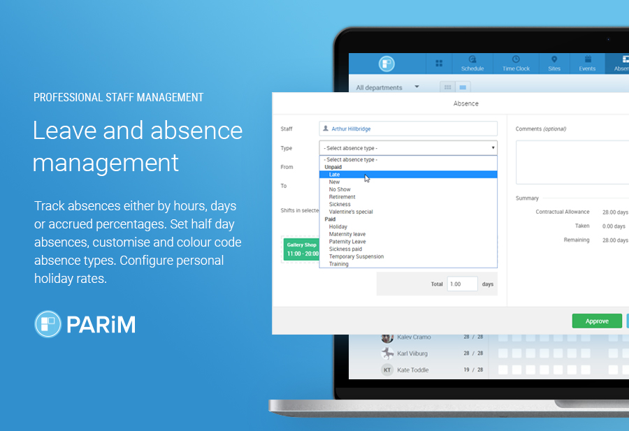 PARiM Demo - Make managing holidays as enjoyable as tracking them
