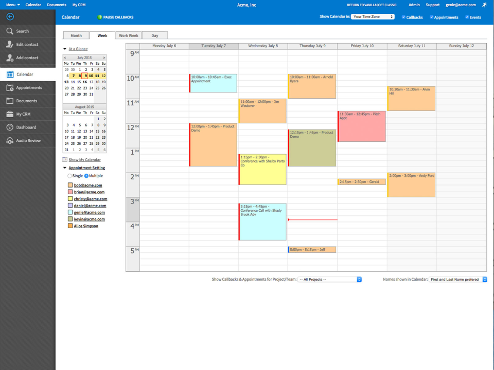 VanillaSoft Demo - Calendar