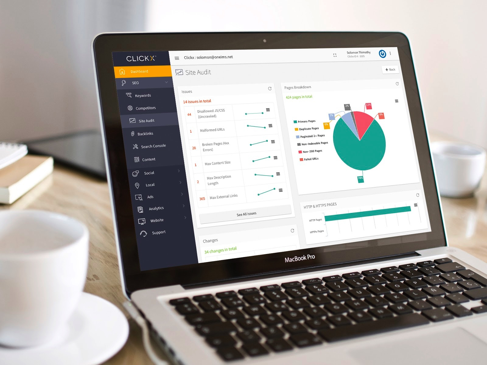 Clickx Demo - Clickx Site Audit Dashboard Section