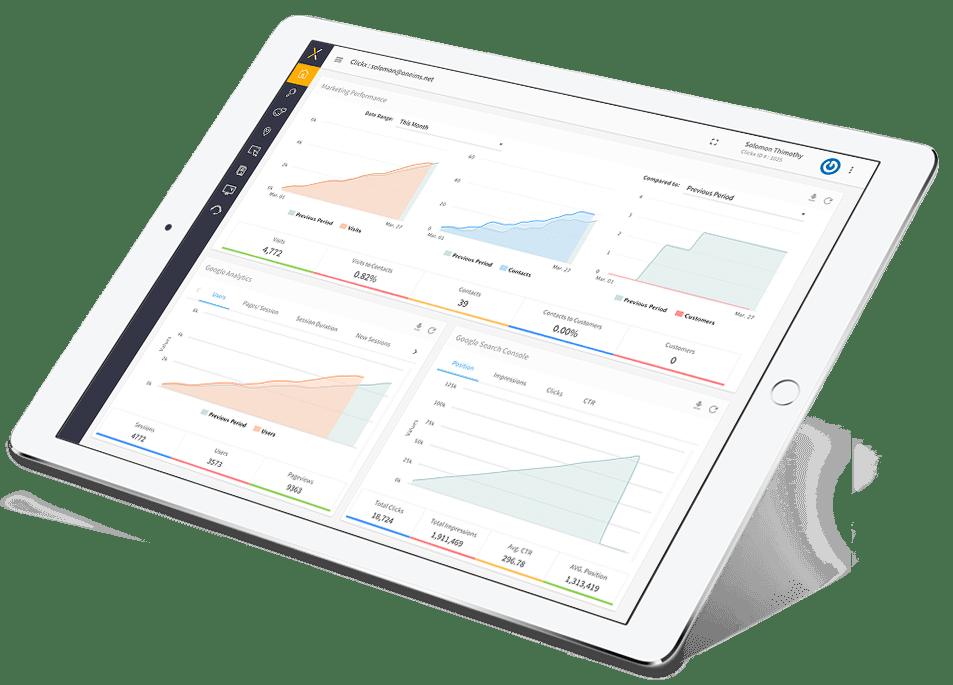 Clickx Demo - Clickx Home Dashboard iPad View