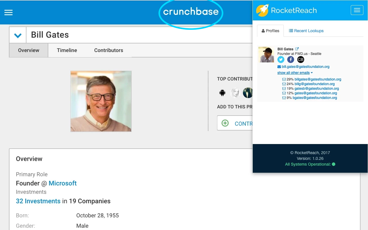 RocketReach Demo - RocketReach Plugin Crunchbase
