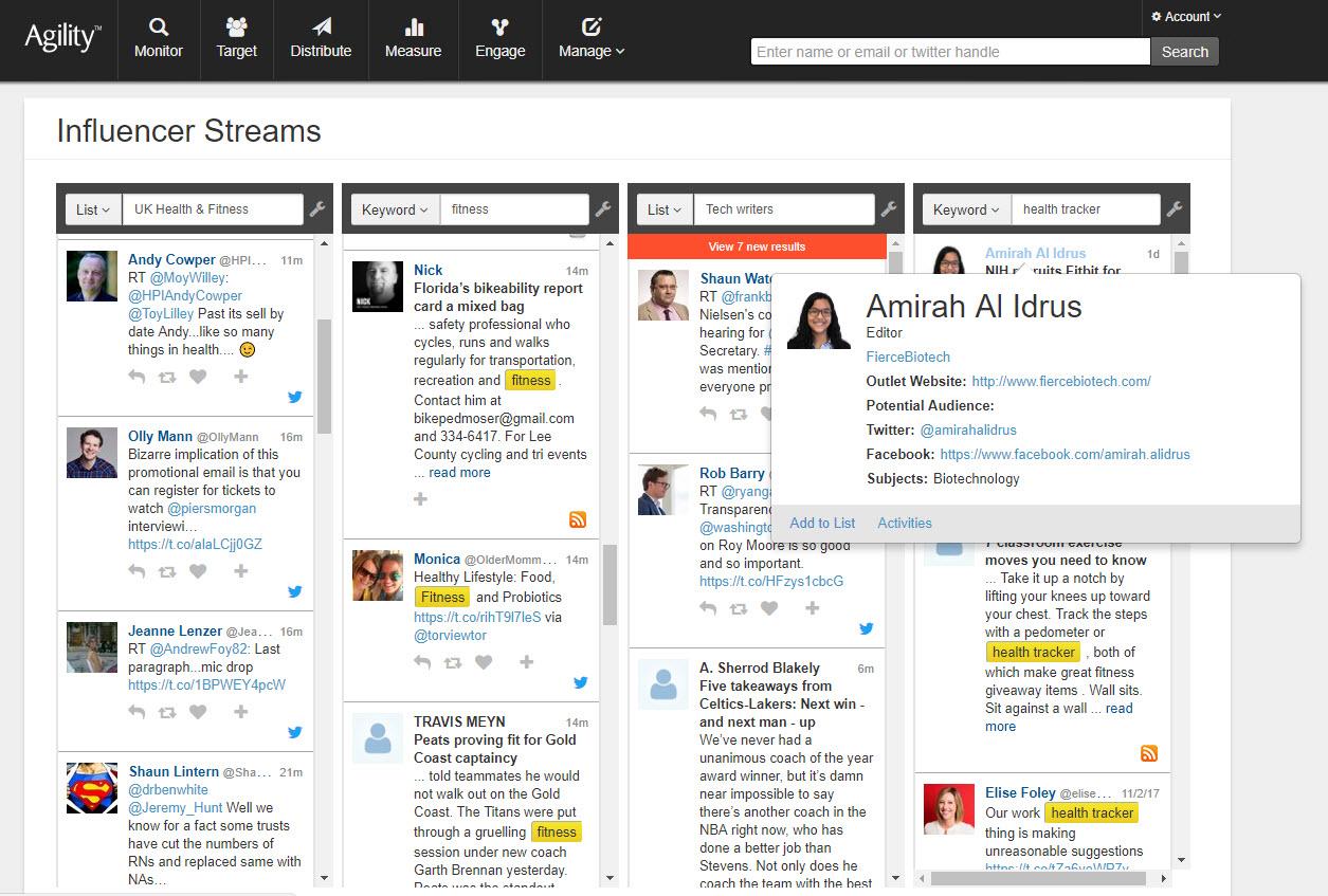 Agility PR Solutions Demo - Social Media Streams