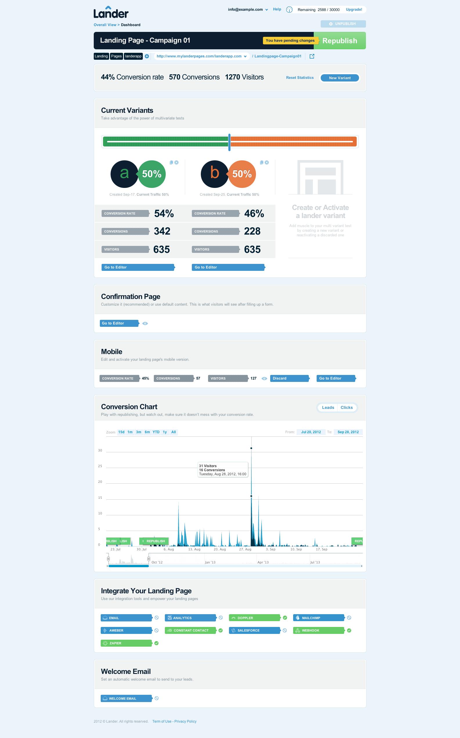 Lander Demo - Lander Editor Dashboard