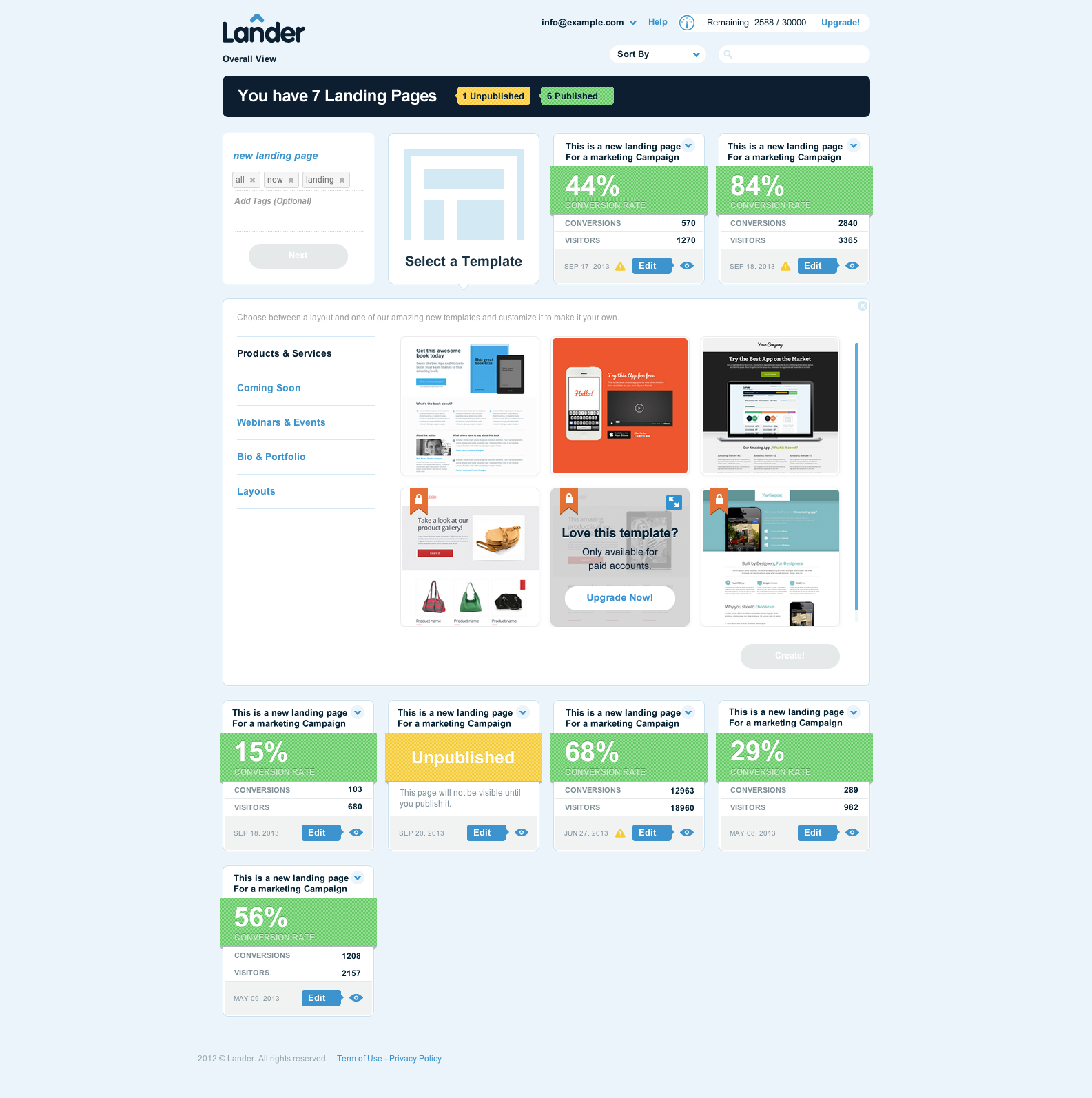Lander Demo - Customize Landing Page Templates