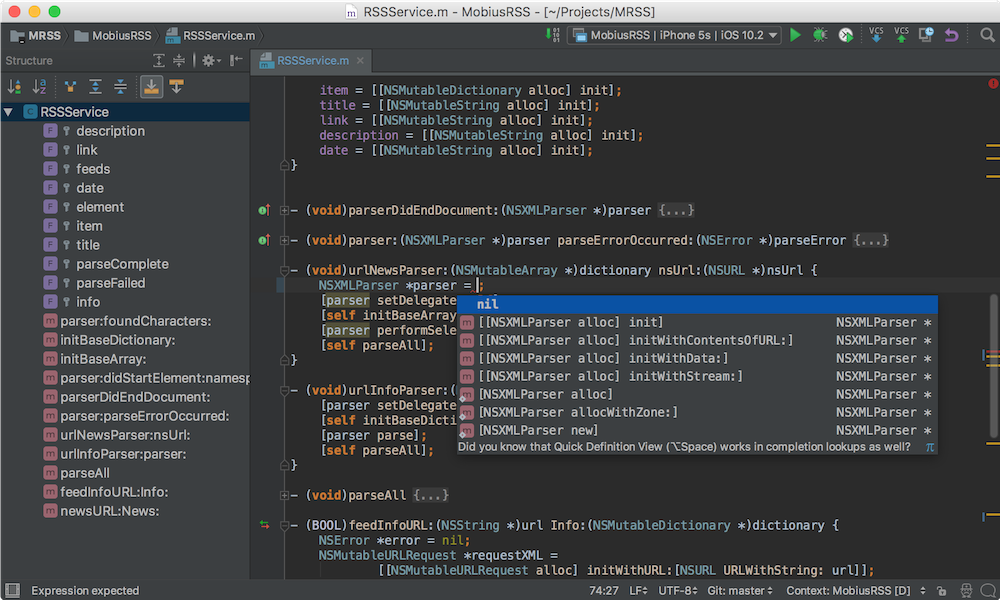 AppCode Demo -  Intelligent development environment