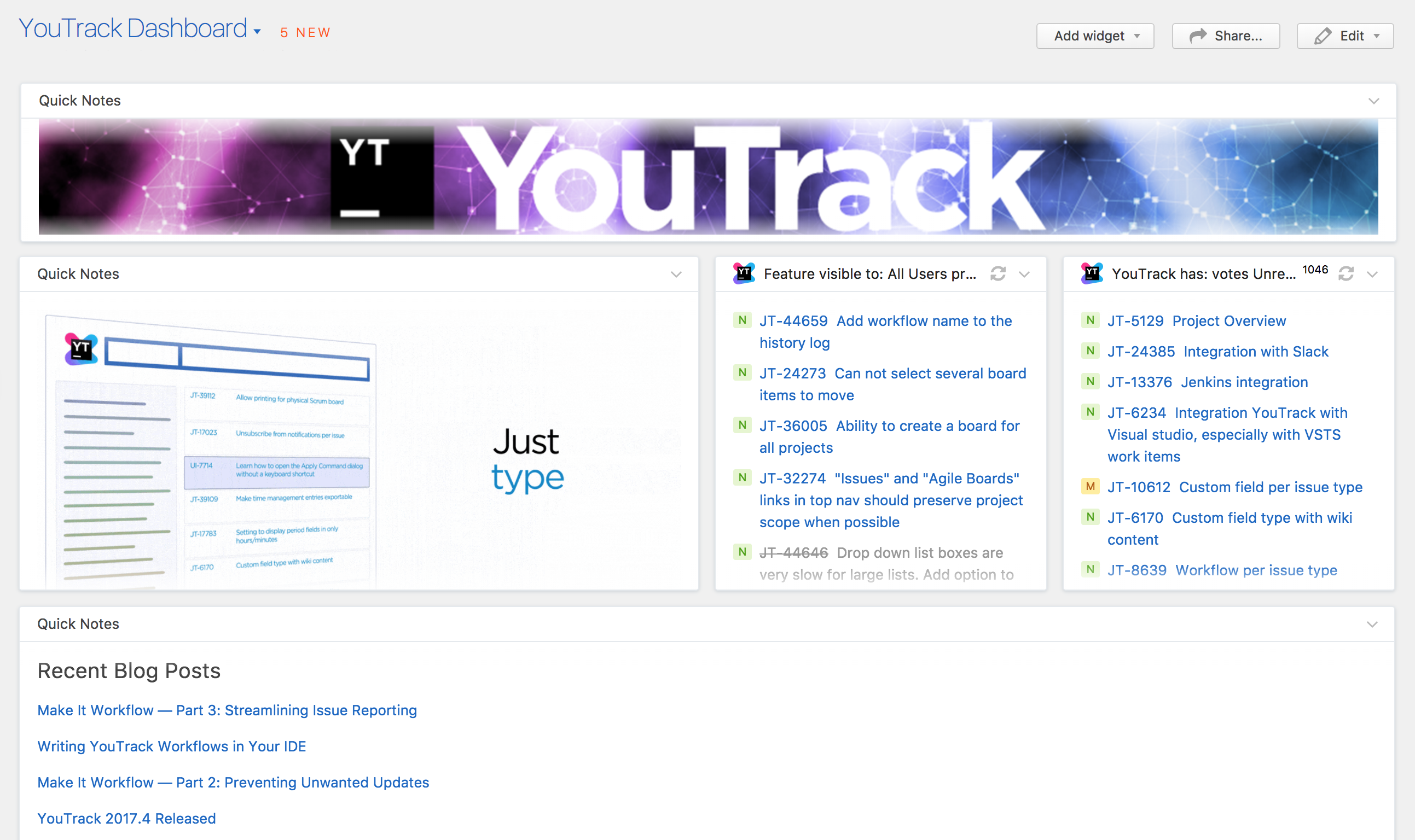 YouTrack Demo -  Live Dashboard