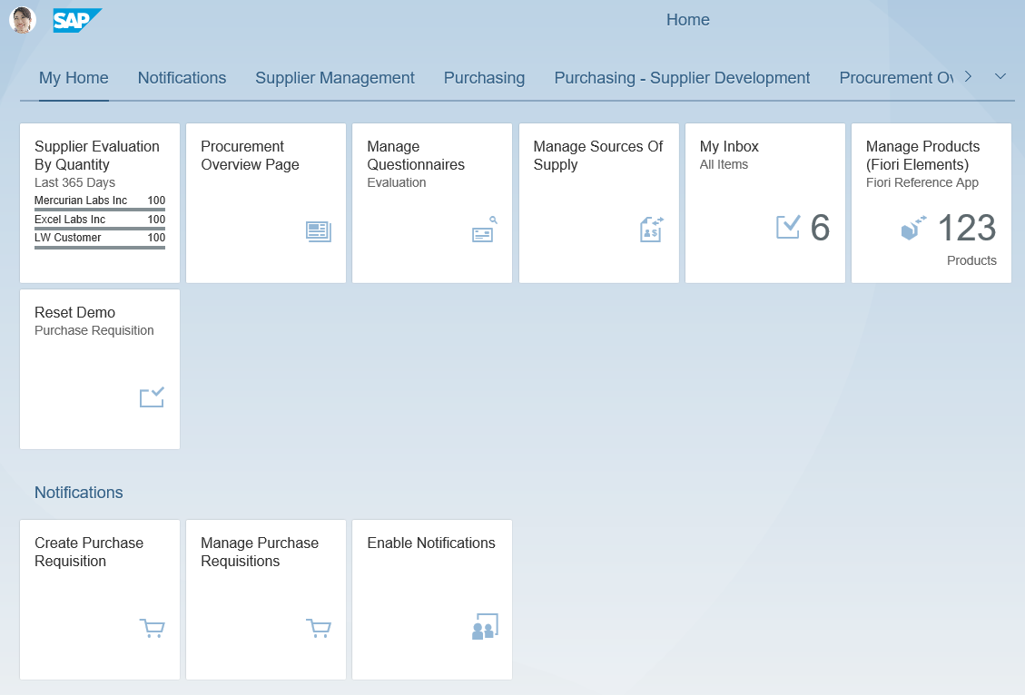 SAP S/4HANA Demo - Fiori Home Screen