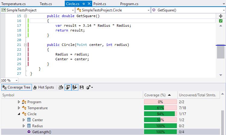 dotCover Demo - Seamless integration with Visual Studio