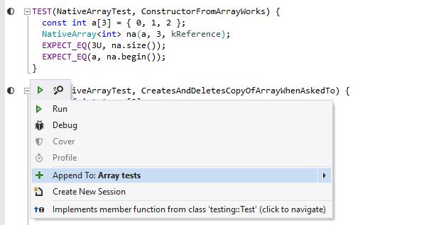 ReSharper C++ Demo - Unit test runner