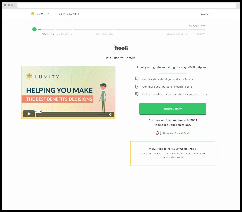 Lumity Benefits Solution Demo - Open Enrollment Screen
