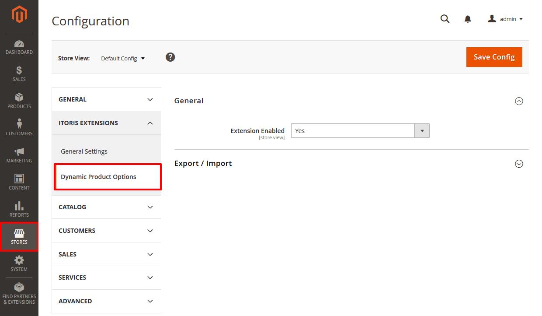 Magento 2 Custom Options Demo - General Settings