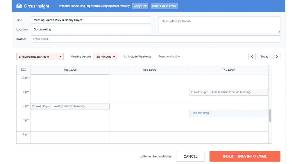 Cirrus Insight Demo - Enterprise Scheduling